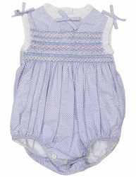 Blue Smocked Sunsuit NB