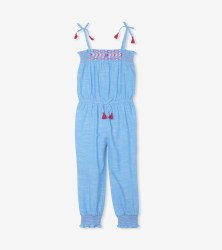 Chambray Smocked Jumpsuit 4