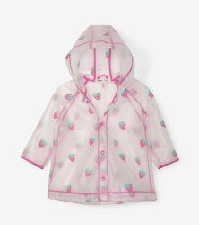 Clear Baby Rain Coat Strawberries 12-18m