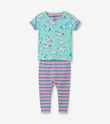 S/S PJ Set Unicorns 9-12m