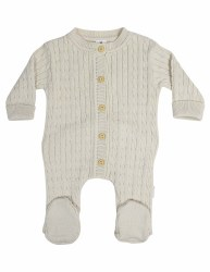 Cable Knit Romper Beige NB