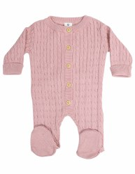 Cable Knit Romper Pink NB