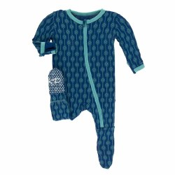 Footie Navy Lattice 0-3m