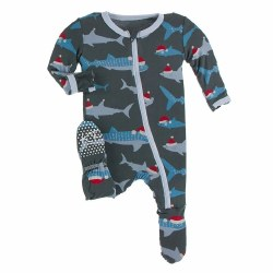 Footie Pewter Santa Sharks 3-6m