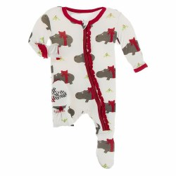 Muffin Footie Christmas Hippo 0-3m