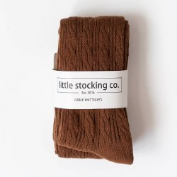 Cable Knit Tights Chocolate 6-12m