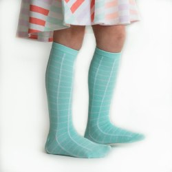 Knee High Aqua Grid 6-18m
