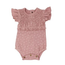 Smocked Bodysuit Mauve Dots 9-12M