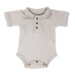 Polo Bodysuit Grey Dots 9-12m