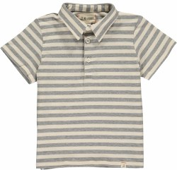 Grey/Cream Stripe Polo 4-5y