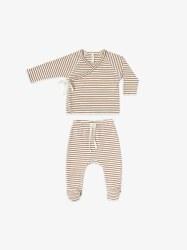 Kimono + Pant Set Rust Stripe 0-3m