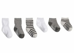 Socks Grey Essentials 6pk 12-2