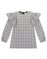 Jaquard Check Frill Sleeve 4-5