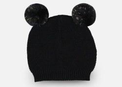Pom Pom Baby Beanie Black