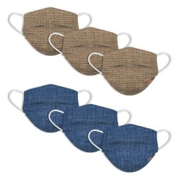 Disposable Adult Face Masks Blue Linen + Burlap