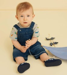 Denim Baby Short Overalls 9-12m