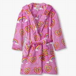 Fleece Robe Rainbow Hearts Small