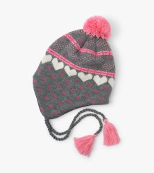 Hearts Fleece Lined Hat Medium (4-5)