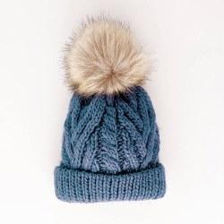 Slate Blue Pom Pom Hat 6-24m