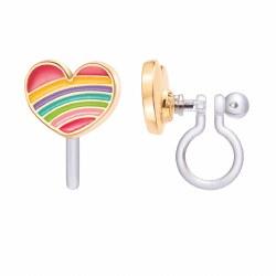 Clip-On Earings Rainbow Heart
