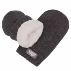 Knit Mittens Dark Grey 0-9m