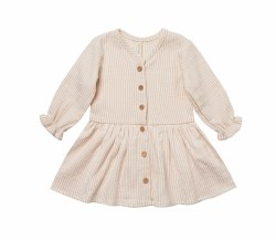 L/S Gauze Dress Petal Stripe 12-18m