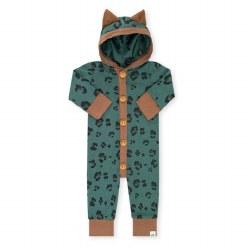 Hooded Romper Emerald Cheetah 0-3m
