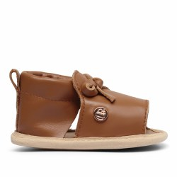 Luggage Brown Bow Shoe 6-9m