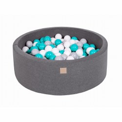 Foam Ball Pit Dark Grey with Grey, White and Teal Balls