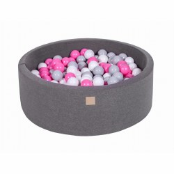 Foam Ball Pit Dark Grey with Grey, White and Pink Balls