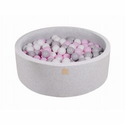 Foam Ball Pit Light Grey with Grey, White and Litght Pink Balls