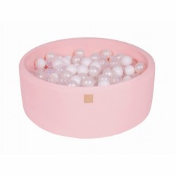 Foam Ball Pit Pink with White, Transparent and Pearl Balls