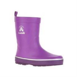 Rain Boots Splashed Purple 10