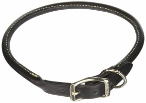Blk Round Leather Collar 20IN