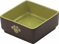 5 Inch Green Square Dog Bowl