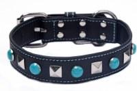 BlackWhite/Turq Stud Collar XS