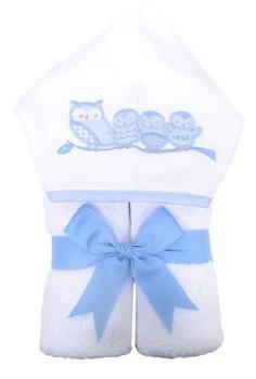 3 Marthas - Hooded Towel - Owls Blue
