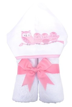3 Marthas - Hooded Towel - Owls Pink