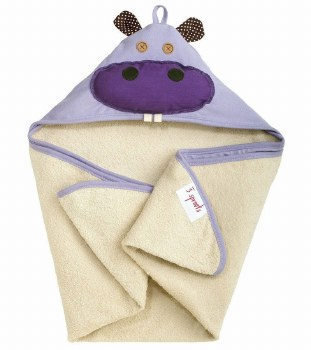 3 Sprouts - Hooded Towel - Hippo Purple