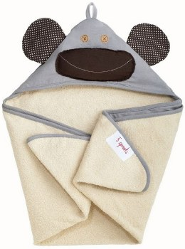 3 Sprouts - Hooded Towel - Milo Monkey Grey