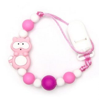 Nini & Loli Find - Paci Holder - Racoon Pink