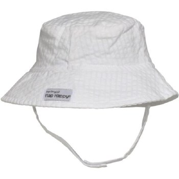 Flap Happy - UPF 50+ Crusher Hat with Neck Strap - Vanilla  SM