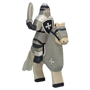 Holztiger - Wooden Tournament Knight and Horse Set Black