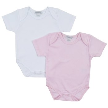 Kissy Kissy - Basic 2 Pack Short Sleeve Bodysuit White and Pink NB