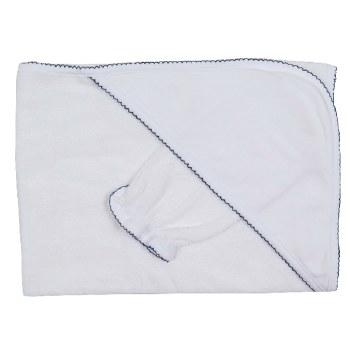 Kissy Kissy - Hooded Towel with Mitt - Basic White/Trim Navy