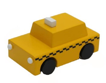 N L - Karuma Classic Wooden Wind Up Taxi - Yellow