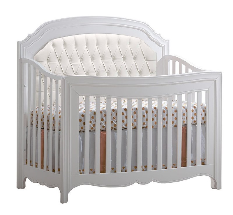 Groovy Natart Allegra 5 In 1 Convertible Crib With Upholstered Panel White Theyellowbook Wood Chair Design Ideas Theyellowbookinfo
