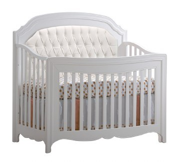 Natart - Allegra 5-in-1 Convertible Crib With Upholstered Panel - White