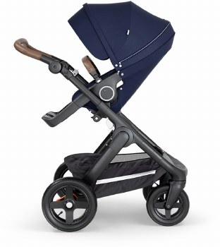 Stokke - 2018 Trailz Stroller Black Chassis with Brown Handle - Deep Blue