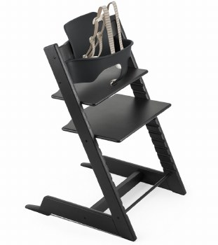 Stokke - Tripp Trapp Oak High Chair & Baby Bundle Set - Black